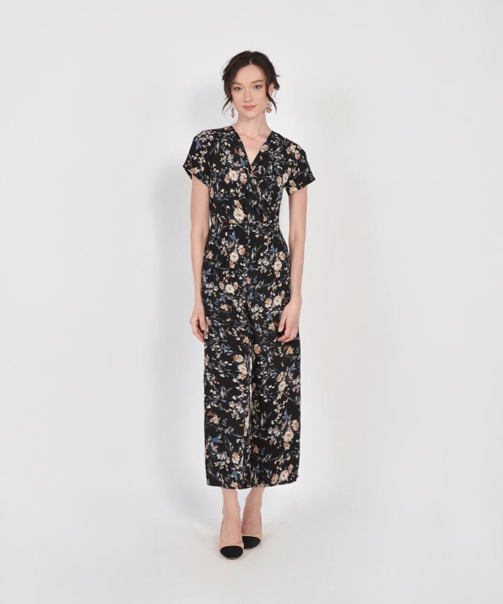 Rosa Floral Jumpsuit - Black
