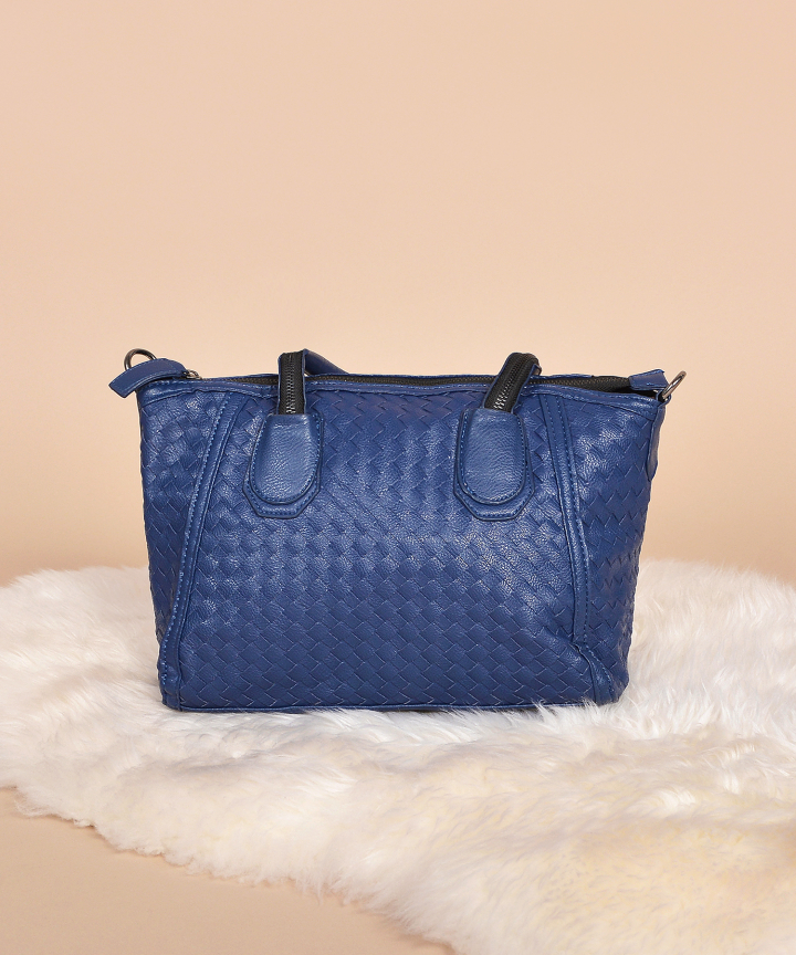 Tegan Weave Handbag - Navy