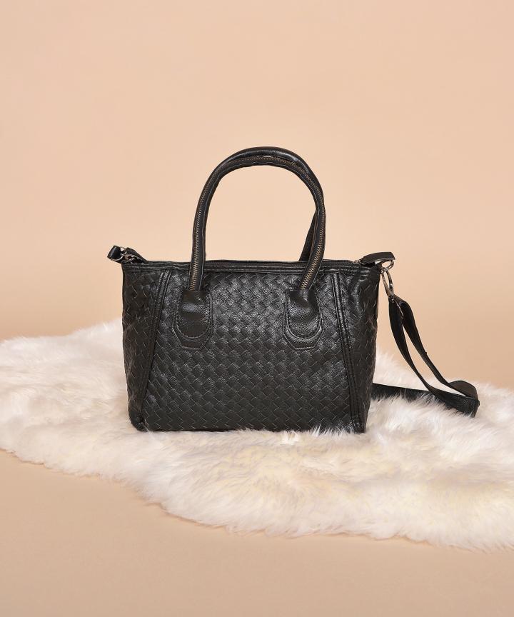 Tegan Weave Handbag - Black