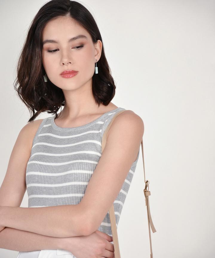 Cassie Knit Tank - Grey Striped
