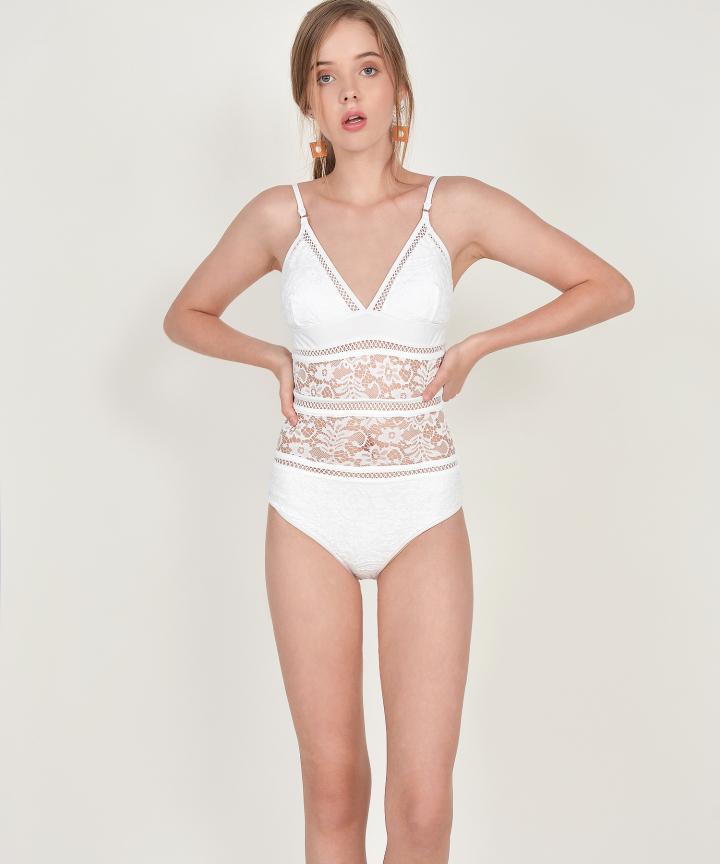 Talia Crochet Swimsuit - White