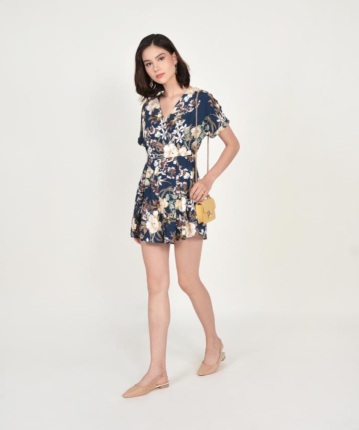 Ceres Floral Kimono Playsuit - Navy (Backorder)