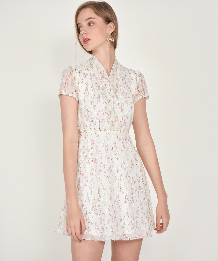 Janelle Floral Textured Dress - White