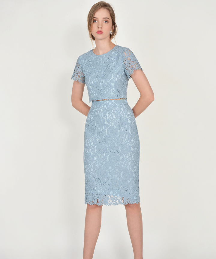 Marie Lace Midi Skirt - Mist Blue