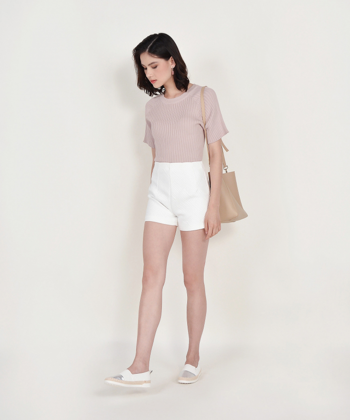 Amara Ribbed Knit Top - Dust Pink