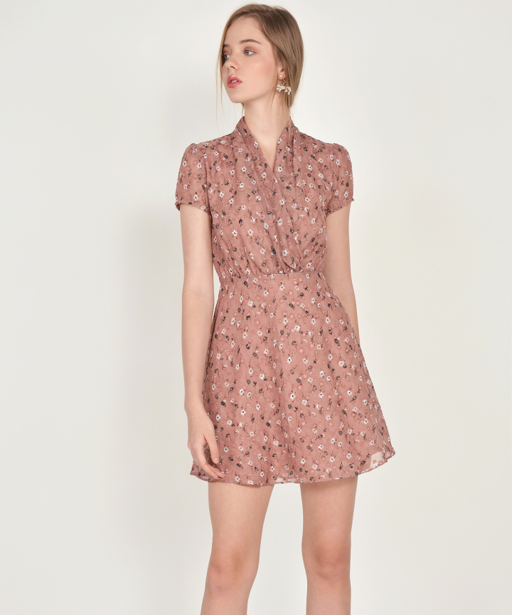 Janelle Floral Textured Dress - Antique Rose