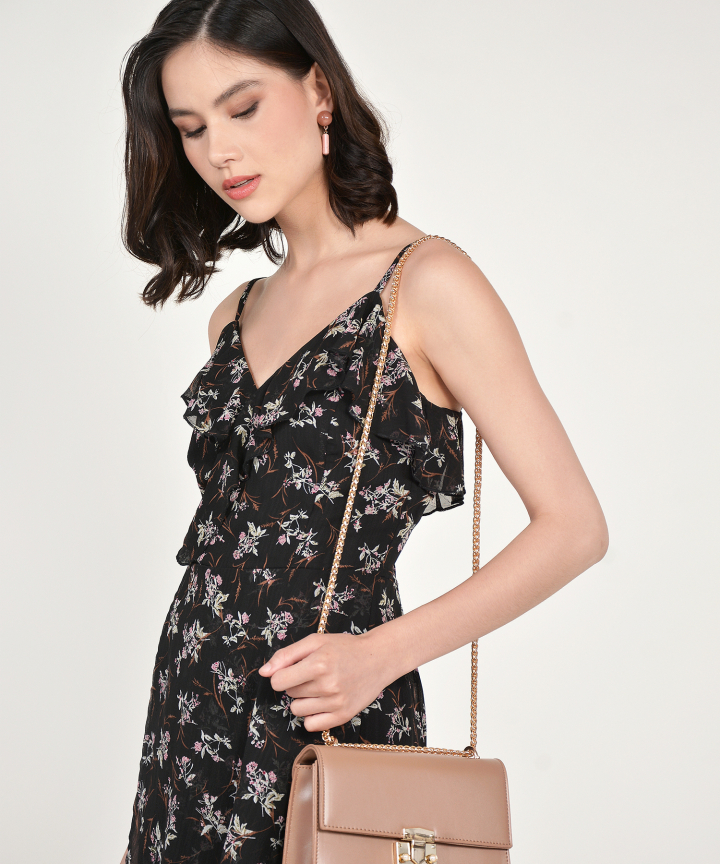 Shirley Floral Ruffle Playsuit - Black