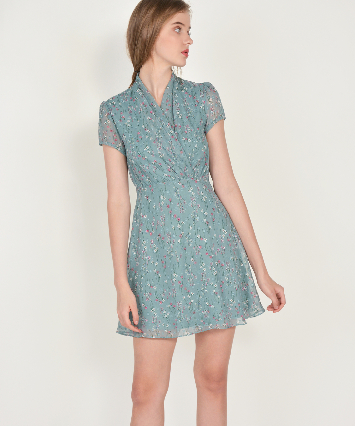 Janelle Floral Textured Dress - Seafoam