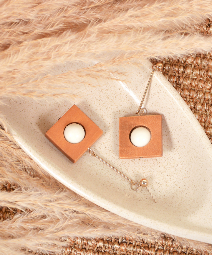 Pippa Square Earrings - Brown