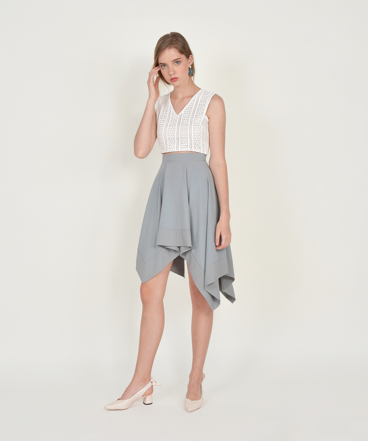 Cascade Asymmetrical Skirt - Mist Blue