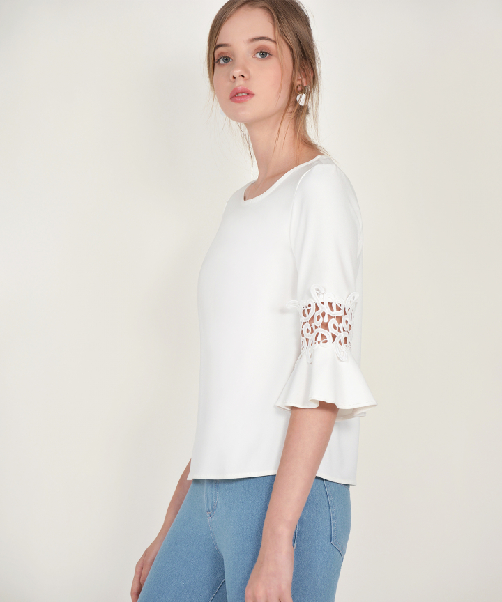 Alice Trumpet Sleeved Blouse - White