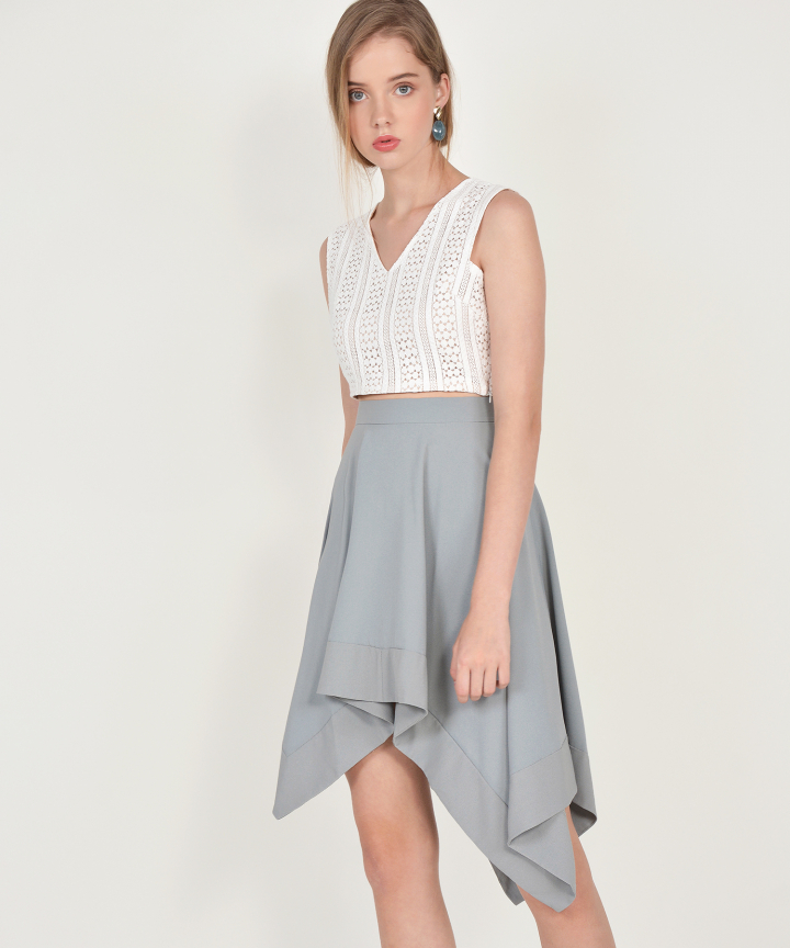 Cascade Asymmetrical Skirt - Mist Blue