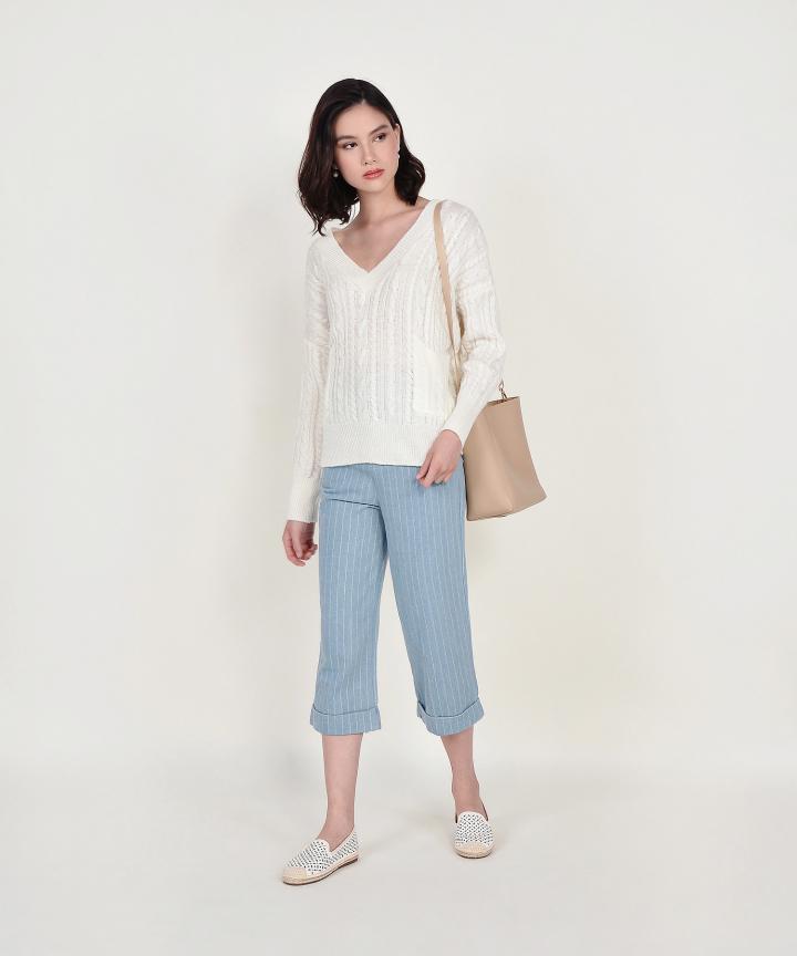 Celeste V-neck Oversized Knit Sweater - Off-White