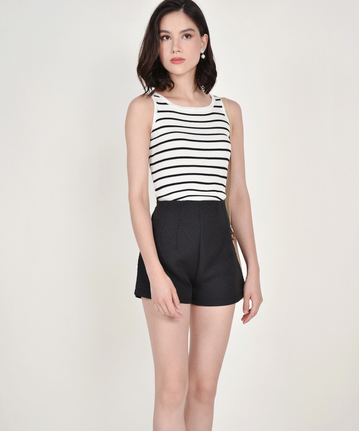 Cassie Knit Tank - White Striped