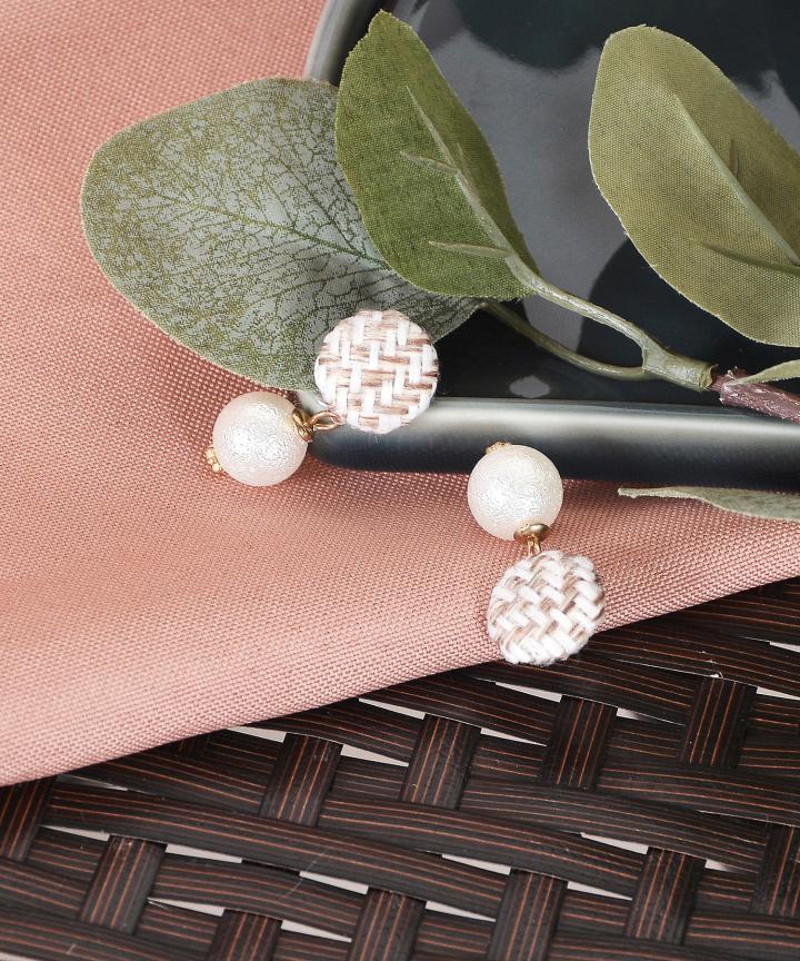 Helena Tweed Earrings - Cream