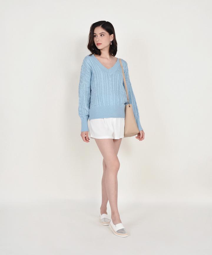 Celeste V-neck Oversized Knit Sweater - Sky Blue