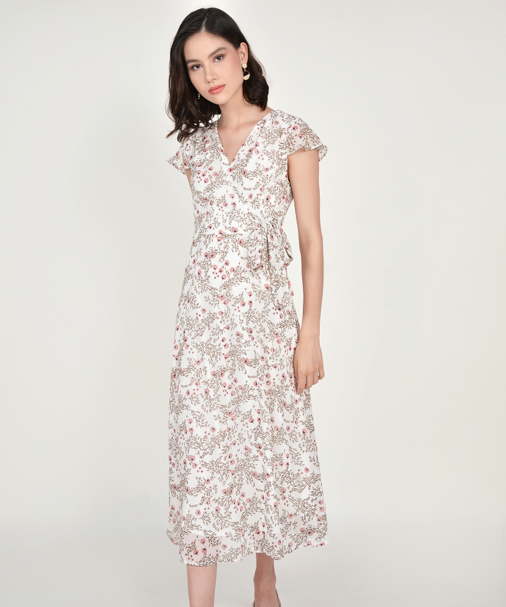 Candice Floral Maxi - White
