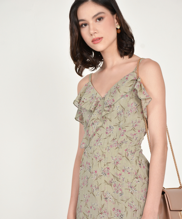 Shirley Floral Ruffle Playsuit - Dust Sage