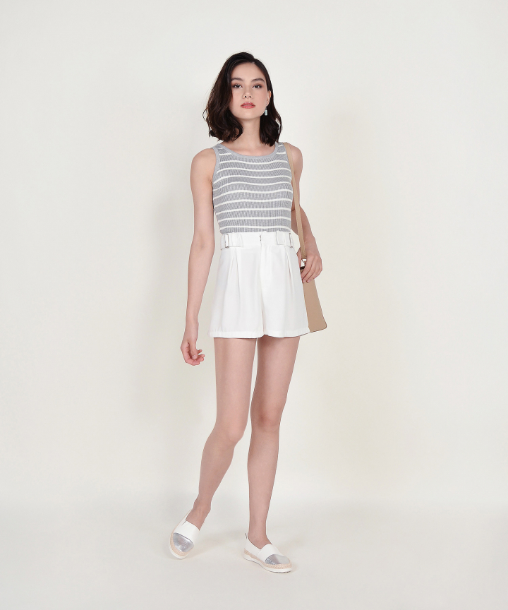 Cassie Knit Tank - Grey Striped