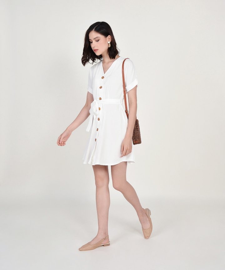 Lizzie Button Down Dress - White
