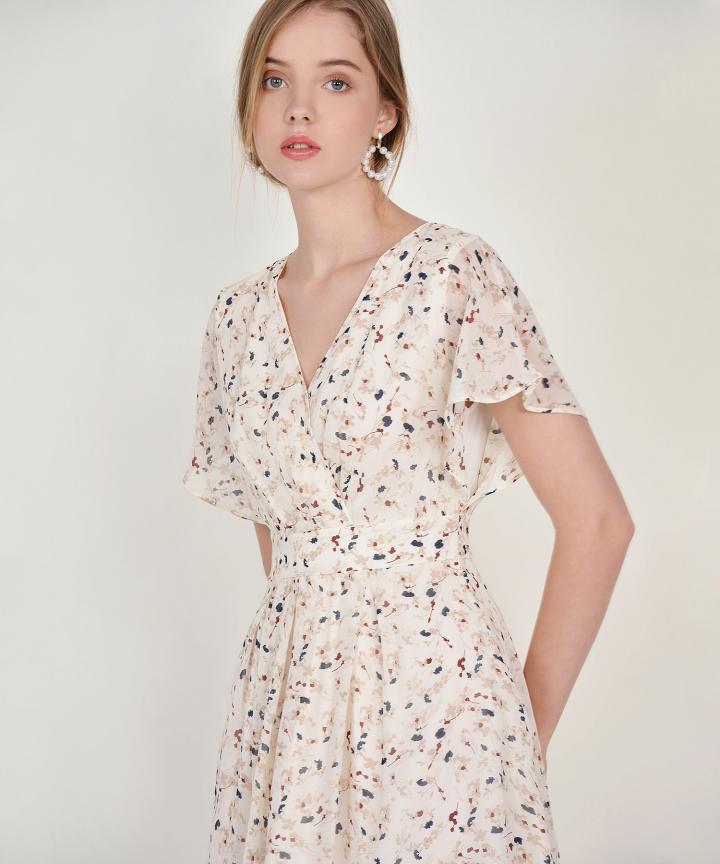 Ayame Floral Kimono Dress - Cream