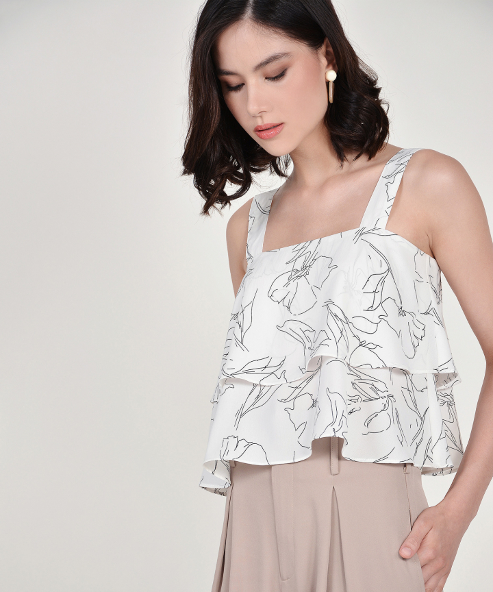 Gwyneth Floral Tiered Top - White