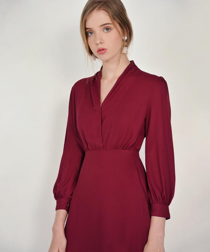 Tjin Overlay Dress - Carmine