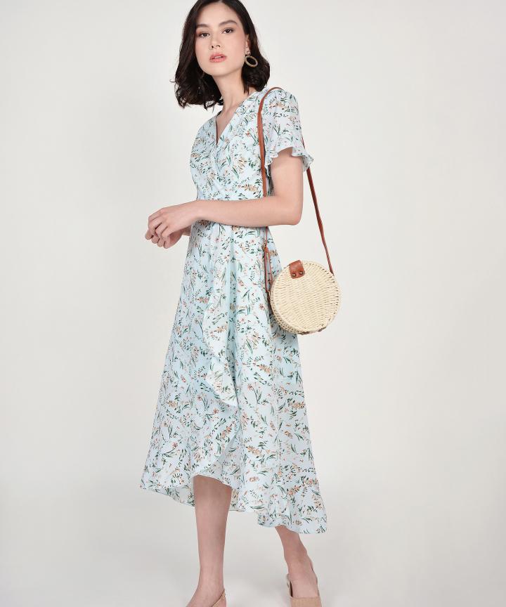Lindsay Floral Overlay Dress - Pale Blue
