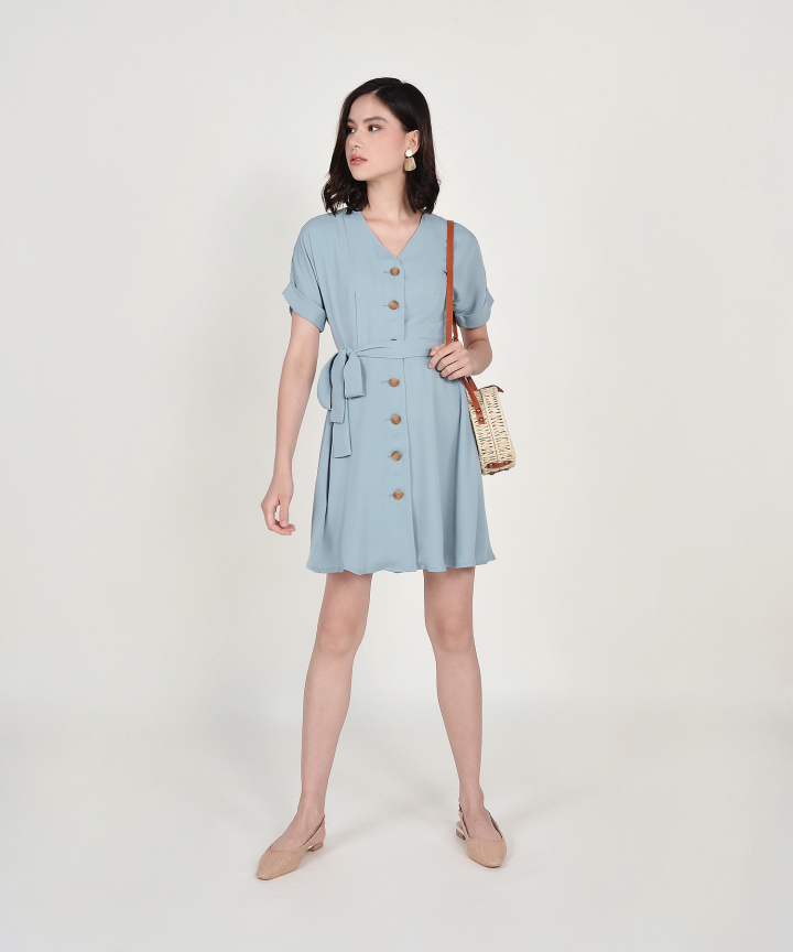 Lizzie Button Down Dress - Mist Blue