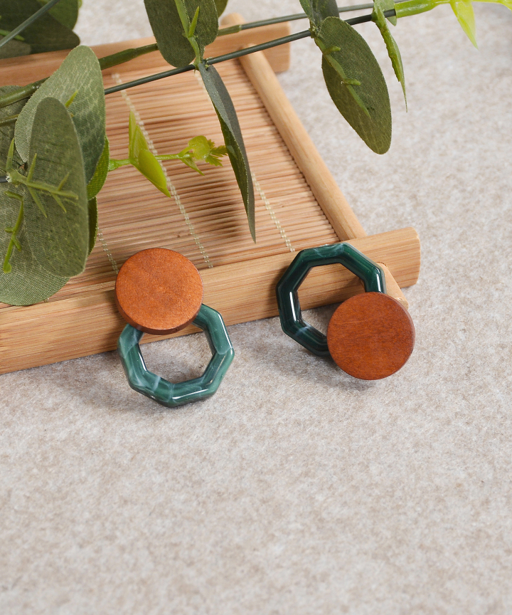 Wooden Earrings - Brown/Green