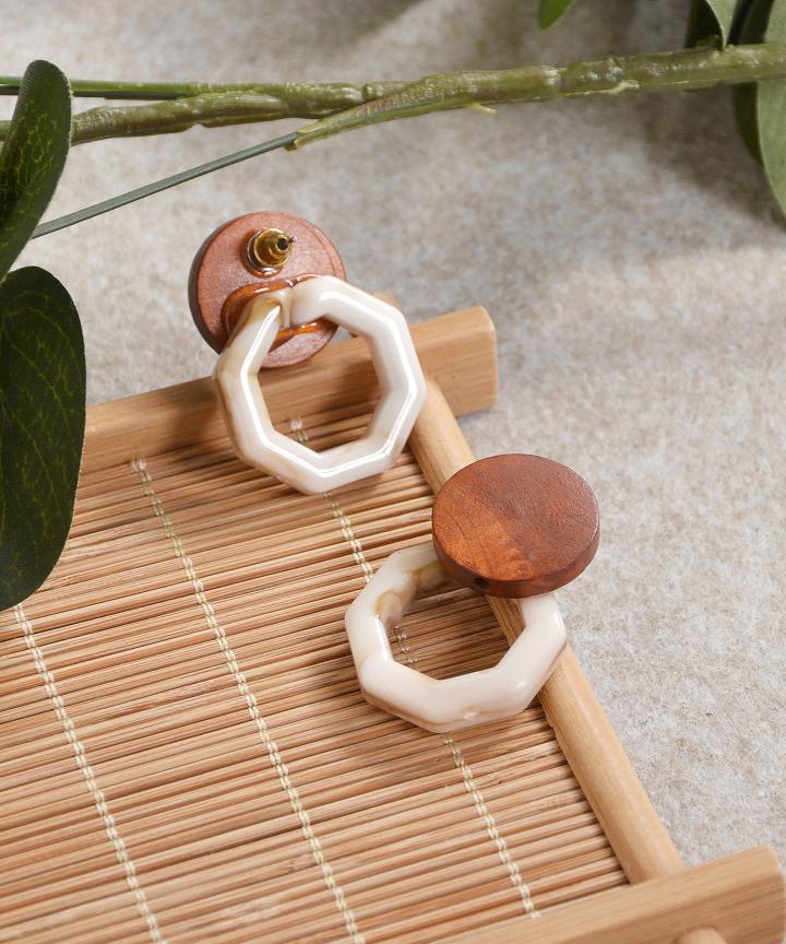 Wooden Earrings - Brown/Caramel