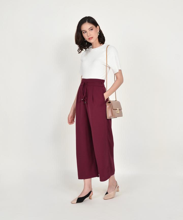 Sachi High Waist Trousers - Ruby
