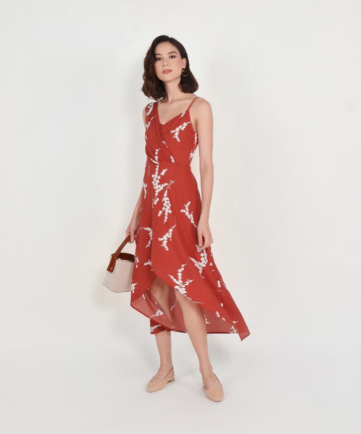 Aubrey Asymmetrical Midi - Scarlet