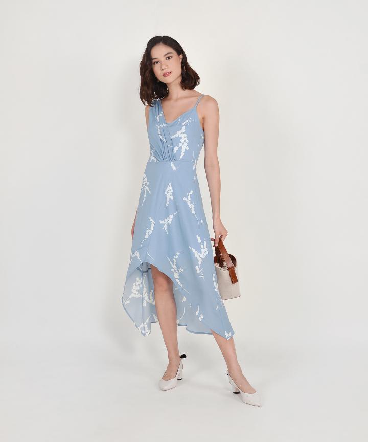 Aubrey Asymmetrical Midi - French Blue