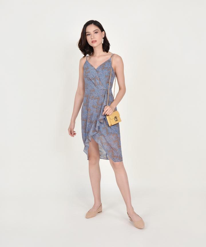 Himeji Floral Overlay Dress - Dust Blue