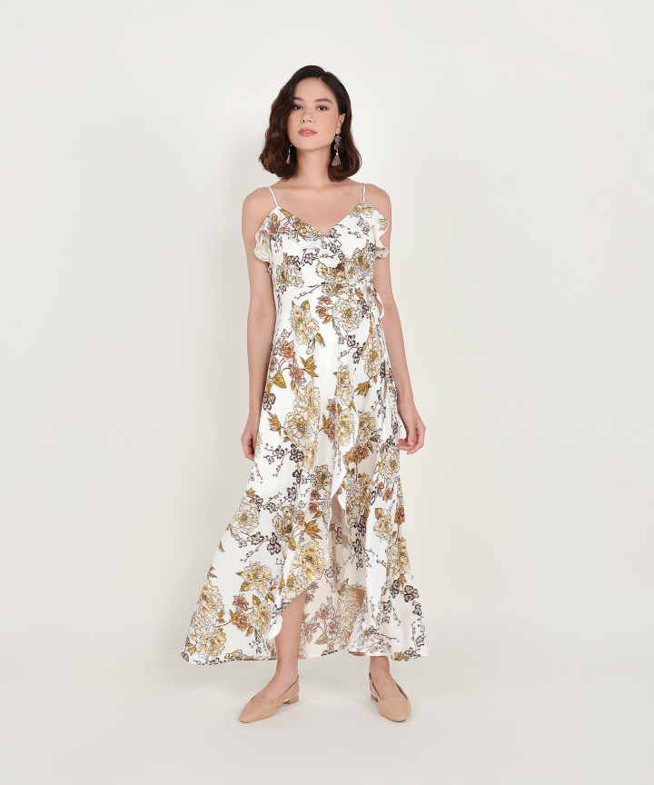 Louisa Floral Overlay Maxi - White