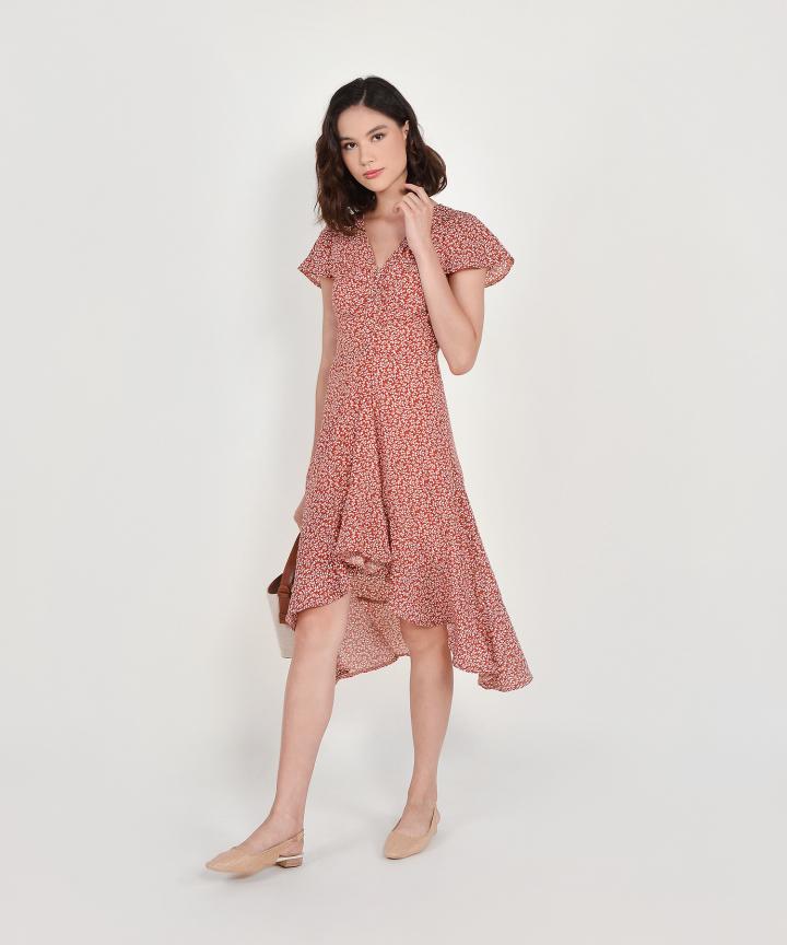 Kacey Floral Asymmetrical Dress - Brick (Backorder)
