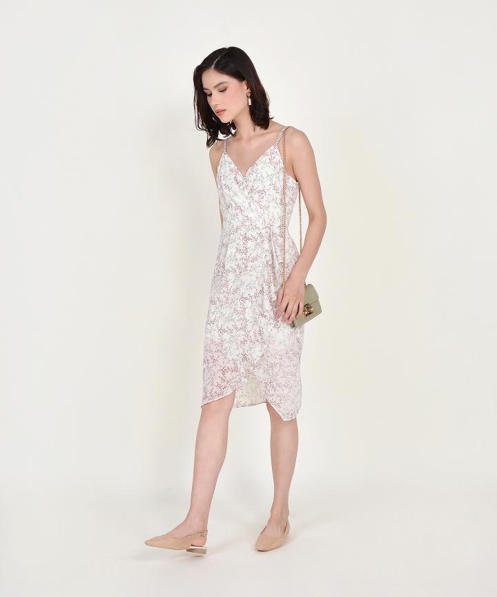 Himeji Floral Overlay Dress - White