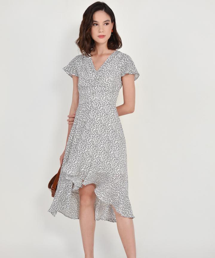 Kacey Floral Asymmetrical Dress - White