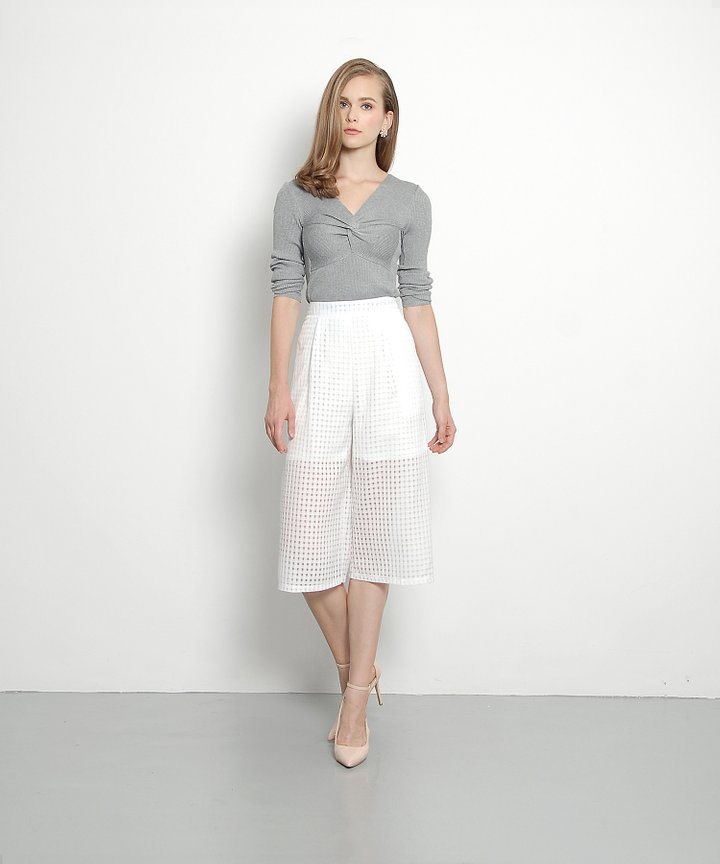 Lenne Ruched Knit Top (Grey)