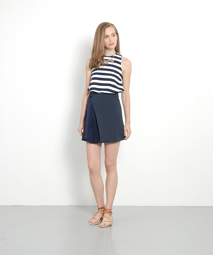 Felix Striped Cropped Peplum Top (Navy)