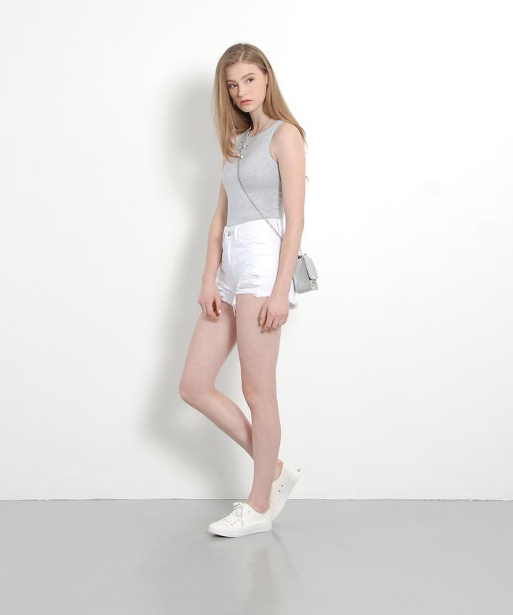 Andy Denim Shorts (White)