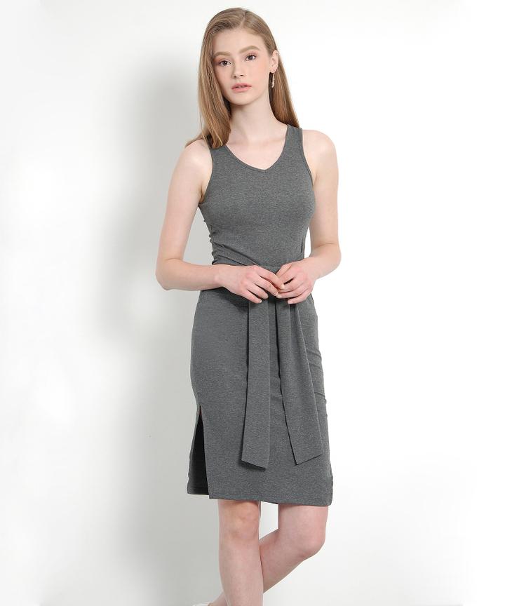 Nottinghill Knot Midi Dress (Dark Grey) - Restock