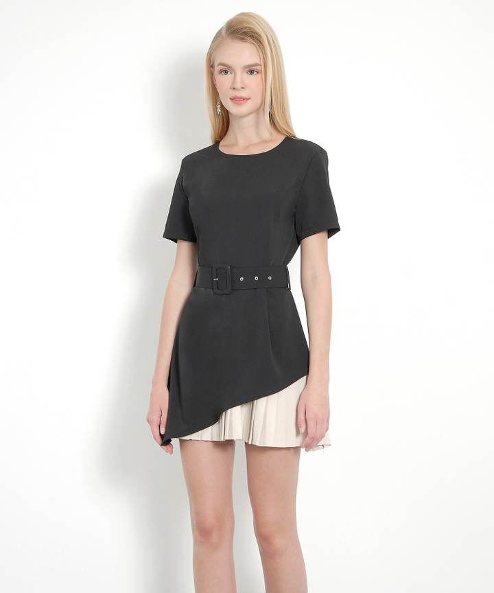 Privé Pleat Dress (Black)