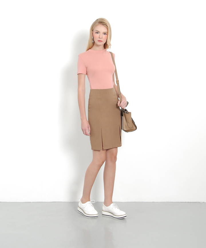 Mahogany Pencil Skirt (Caffee)