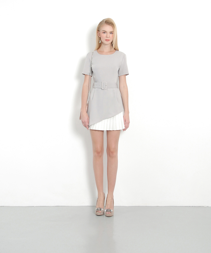 Privé Pleat Dress (Grey)