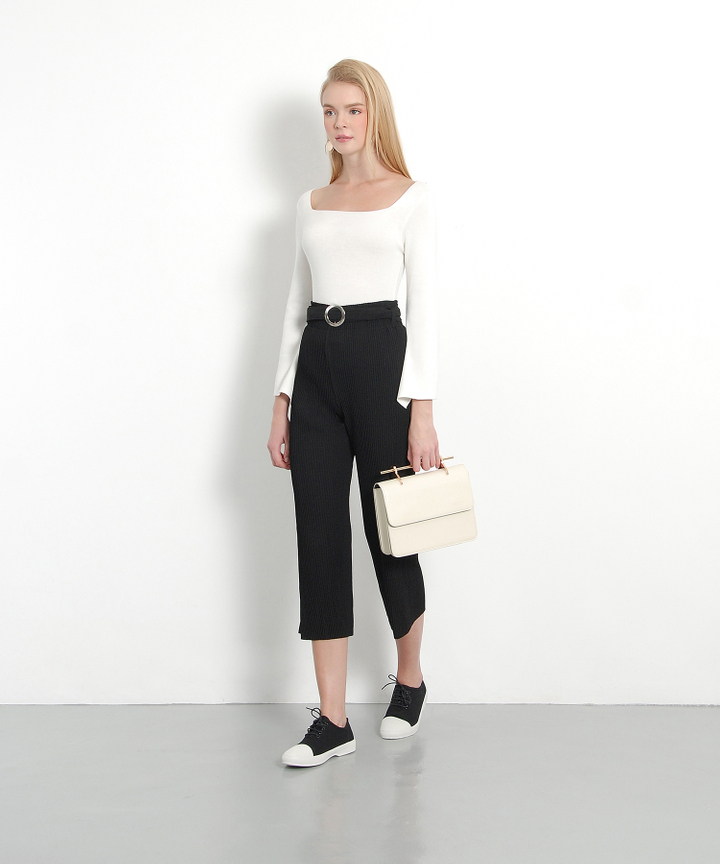 Mandarin Pleated Culottes (Black)