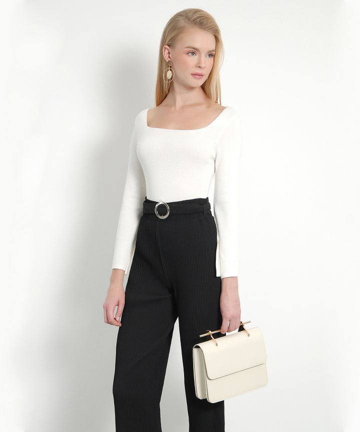 Chai Square-Neck Knit Blouse (White)