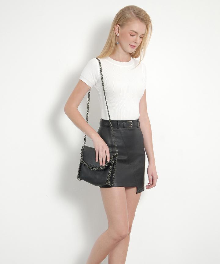 Sanguine Belted Leather Skirt (Black)