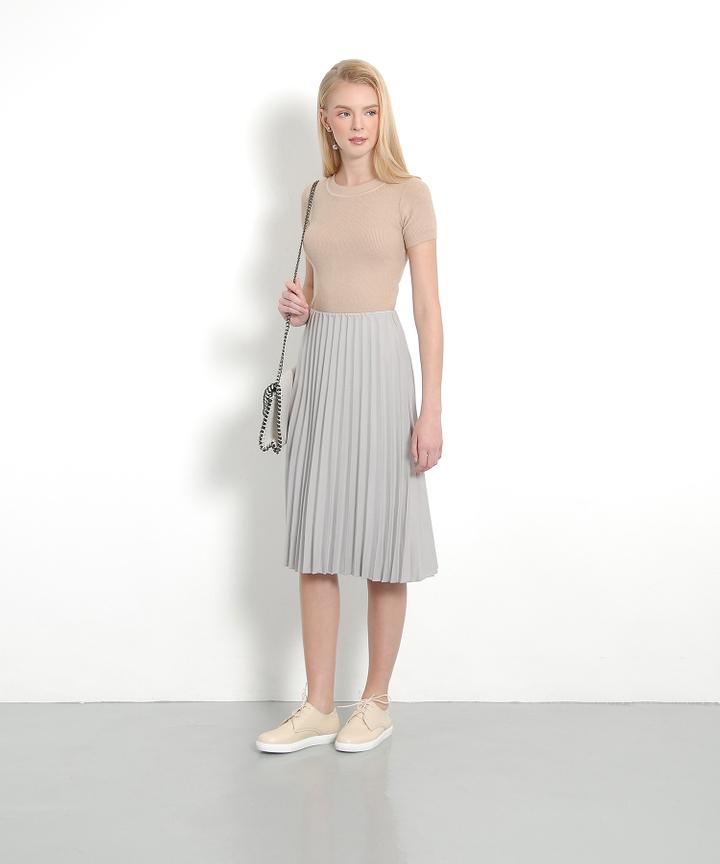 Twiggy Pleat Skirt (Pale Grey)